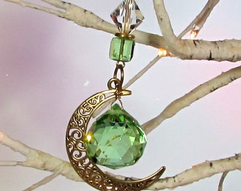 Green Crystal Orb Moon Sun Catcher & Christmas Ornament, 1S-15