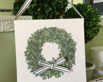 Boxwood Wreath Canvas Wall Art | Boxwood Wall Hanging
