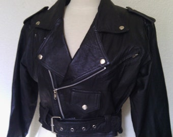 Vintage Black Leather Cropped Motorcycle Jacket - Small Women's Moto Coat