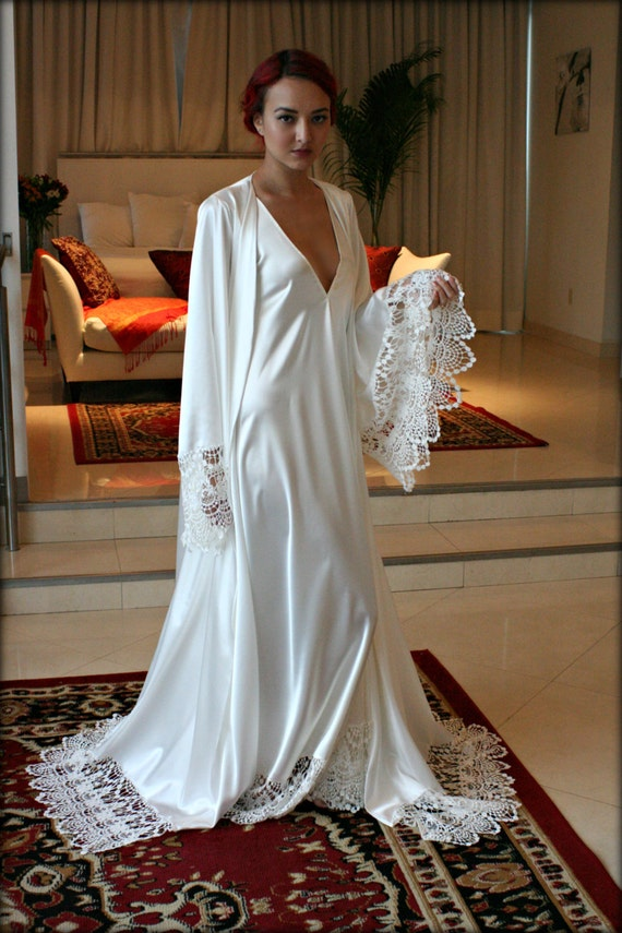 bridal robe wedding trousseau sleepwear venise lace art deco wedding