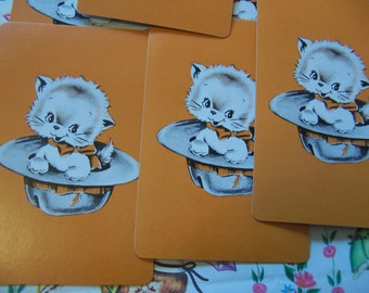 adorable kitty in a hat cards