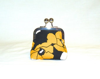 Happy Little Coin Pouch in Gold and White Poppy Print on Black Background