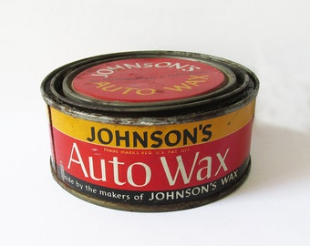 1940s Johnson Auto Wax Tin - Car Wax Can