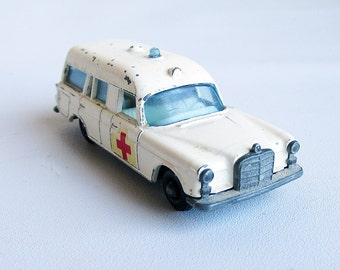 1960s Lesney Matchbox Mercedes Ambulance - Die Cast Metal