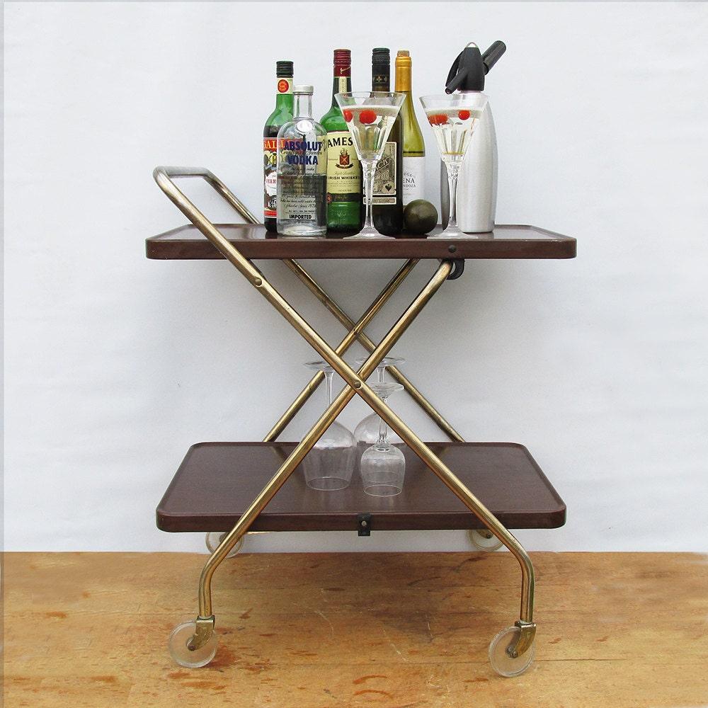 Mid Century Cosco Folding Metal Serving Cart