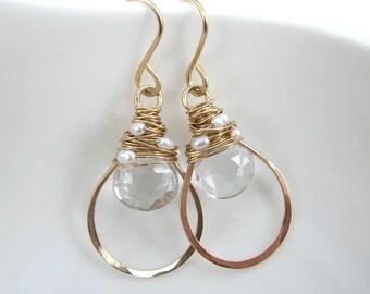 Verona, Crystal Quartz, Pearl Hoop Earrings
