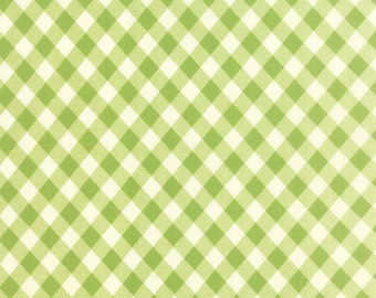 ON SALE Moda Vintage Picnic Fabric Bonnie & Camille Fabric Green Gingham Fabric Green Plaid Fabric Quilting Fabric - By The 1/2Y