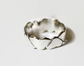 Sterling Silver Carved Hearts Ring, Wedding Band, Friendship Ring Size 6 or any size