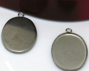 50 Pendant Trays Stainless Steel Jagged Frame 18x25mm Oval Bezel Setting W/ Ring Wholesale Pendant Base Cabochon Mountings