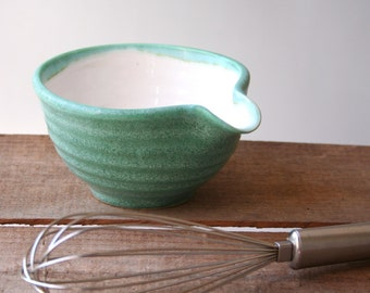 Handmade teal green mixing bowl with spout