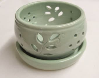 Berry Bowl  Orchid Planter and Drain Plate  Ceramic Pottery Stoneware Plate Handmade Ceramic Pottery Turquoise Bowl