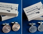 Handmade and Gift Boxed Vintage Upcycled Coin Farthing or Sixpence Cufflinks