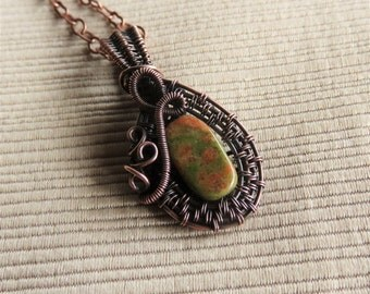 Delicate Necklace - Wire Wrapped Pendant - Unakite Jewelry - Wire Wrap Necklace - Minimalist Necklace - Tiny Pendant Necklace