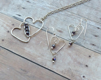 Heart Necklace Silver - Heart Earrings - Necklace and Earring Set - Christmas Gifts For Her - Stocking Stuffer - Holiday Gifts