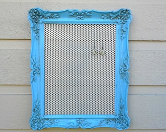 Earring holder or organizer - Magnetic jewelry display - blue painted vintage brass frame, aged with white insert, photo display