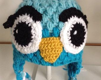 Child's blue owl hat crochet