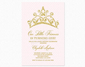 Princess Tiara Birthday Party Invitation, Princess Birthday Party Invitation, Blush Pink, Gold Glitter, Printable or Printed