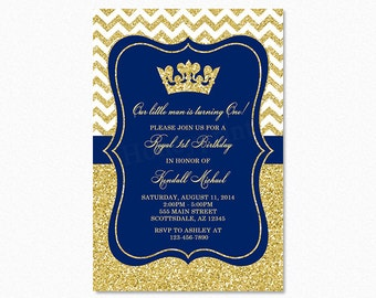Prince Birthday Party Invitation, Royal Blue, Gold Glitter, Little Prince, 1st Birthday, Printable or Printed
