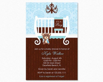 Crib Baby Shower Invitation, Baby Room Baby Shower Invitation, Blue, Brown, Personalized, Printable or Printed