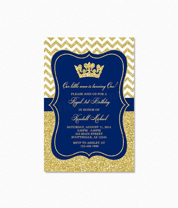Prince Birthday Party Invitation Royal Blue Gold Glitter Little