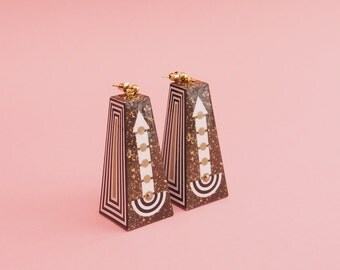 "Geometric Earrings // Statement Earrings // Marble Earrings // Graphic Earrings // Op Art Earrings // Art Deco Earrings // The ""Going Up"""