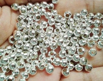 100 5mm Silver Plated Round Spacer Beads, Silver Spacer Beads, Spacer Beads, beads, Metal beads, Round Beads