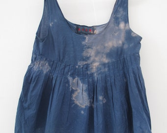 tie dye ( shibori ) with natural Indigenous pigments / lady shirt M / oxygenated