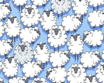 Michael Miller Eyes On Ewe Sheepish Blue fabric - 1 yard