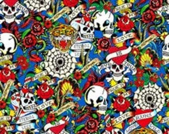 Ed Hardy Love Is True Ultramarine Blue Packed Skulls and Heart Fabric - 1 yard