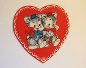 Vintage 1950s Valentine Little Bear Couple Greeting Card!