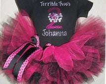 Terrible Two's Sparkly Birthday Tutu Set , Two Year Old Birthday Tutu Outfit , Terrible Two's Tutu Set , 2 Year Old Birthday Tutu Set