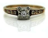Antique Vintage 14K Rosy Yellow Gold Engagement Ring Promise Ring .08ctw Old European Cut Diamond Sunburst Ring Size 6!