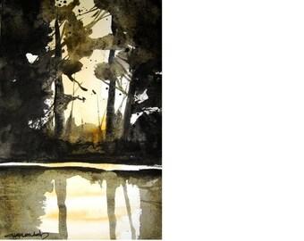 Rio Grande Sunset - Original Watercolor Painting