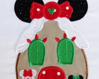 Ready to Ship RTS Boutique Custom Minnie Inspired Christmas House Xmas embroidery Applique Patch DIY 5x7 n 4x4