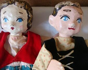 Vintage HANDPUPPETS Handmade Antique Hand Puppets Paper Mache Head Art Scuplture Blue Eyed Man & Woman Puppets Art Toy Theater Show