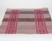 Vintage Hungarian Rag Rug.Small Bedside Mat.  Floor Mat.  Red Blue Pink Check.