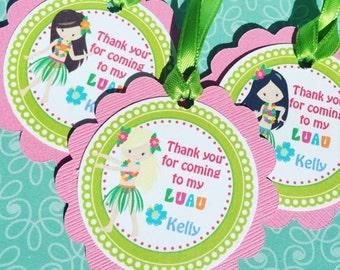 Luau Party Gift Tags, Hula Girl Decorations, Hawaiian Theme Party
