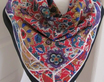 """Morgan Taylor // Beautiful Colorful Silk Scarf // 31"""" Inch 78cm Square // Best of the Best"""