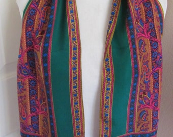 """Beautiful Colorful Green Silk Skinny Scarf // 10 x 50"""" Long // Best of the Best"""