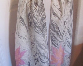 "Beautiful White Gray Pink Soft Silk Scarf - 14"" x 70"" Long"