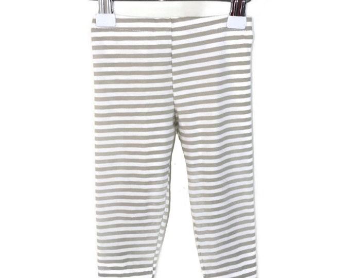 Leggings unisex, White and light brown stripes, leggings stripes, girls outfit, baby boys' leggings, brown leggings, size newborn - 18 mo