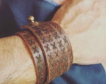 SALE!! Men's Rustic Leather Adjustable Cuff