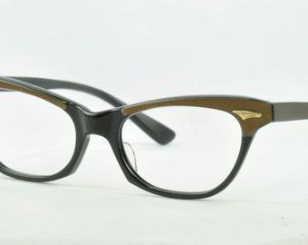 "Frame France ""Chiquita"" Vintage Cat Eye Glasses, NOS, Black with Brown Brows, 1950s, 1960s"