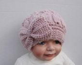 Hand Knit Pink Bow Baby Hat