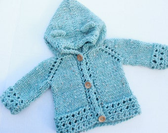 Knit Bear Cub Hooded Cardigan. Baby Bear Cardigan. Hand Knit Baby Hooded Cardigan. Baby Blue Hooded Cardigan. Bulky Baby Boy Sweater.