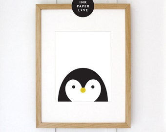 Penguin Art Print, a modern minimal illustration, for a modern kids room.