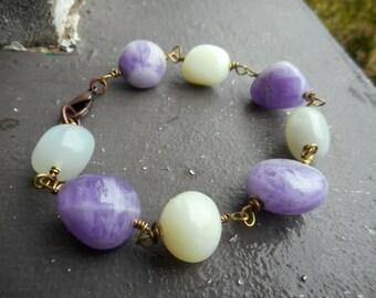 Spring Lavender. Amazonite & Amethyst Chunky Nugget Boho Beaded Gemstone and Brass Bracelet