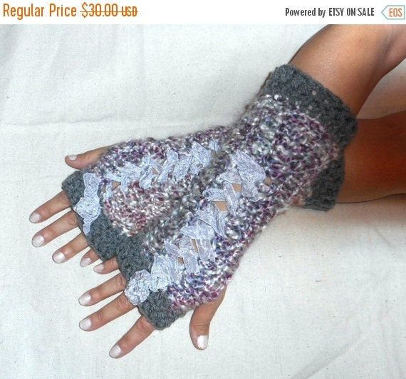 Arm warmers fingerless gloves Earl Grey Tea crochet Victorian Corset Style Parlor arms Handmade Crochet Lace Up Gothic Chic Pewter Rose ooak