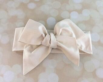 Head Wrap in Premium Designer Woven Cotton - Cream Head Wrap - Headband - Turban - Toddler Head Wrap - Newborn Photo Prop