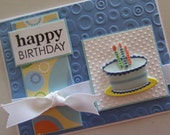 Blue birthday card with cake, bright and cheerful, glitter